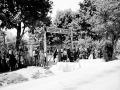 Odsun sudetských Nemcov zo Slovenska do Sudet. Na archívnej snímke sudetskí Nemci v zbernom tábore v Petržalke