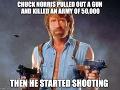 Chuck Norris vytiahol zbraň a zabil armádu 50 000 mužov. Potom začal strieľať.