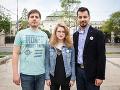 Organizátori Za slušné Slovensko Peter Nagy, Karolína Farská a Juraj Šeliga.