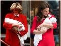 Vojvodkyňa Kate a Princezná Diana pri odchode z pôrodnice.