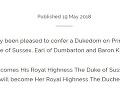 Kráľovná Alžbeta II. dala princovi Harrymu pred jeho dnešným sobášom tituly vojvoda zo Sussexu, gróf z Dumbartonu a barón Kilkeel. Po uzavretí manželstva sa tak aj jeho manželka, americká herečka Meghan Markle, stane vojvodkyňou zo Sussexu.
