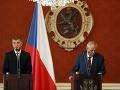 Český prezident Miloš Zeman a premiér českej vlády Andrej Babiš