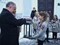 Andrej Kiska počas odovzdávania Betlehemského svetla v Poprade.