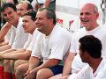 Daniel Krajcer, Daniel Lipšic, Vladimír Bajan a František Mikloško ako  futbaloví reprezentanti v drese bývalého Československa 9. júla 2000.