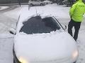 Vodič dostal pokutu za neočistené auto od snehu.