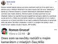 Boris Kollár napísal o svojom smútku na sociálnej sieti Facebook.