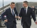 Premiér ČR Andrej Babiš a slovenský premiér Peter Pellegrini počas uvítania.