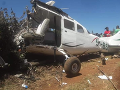 Zrútené lietadlo Cessna 206G.