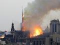 Na snímke Katedrála Notre-Dame počas požiaru