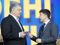 Porošenko a Zelenskyj pri poslednej diskusii na štadióne: Ukázali svoje rečnícke znalosti