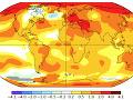 Odchýlky priemernej ročnej teploty na Zemi v roku 2018 v porovnaní s dlhodobým priemerom 1901-2000.