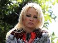Pamela Andersonová poskytuje rozhvor médiám po návšteve zakladateľa organizácie WikiLeaks Juliana Assangea