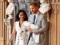 Vojvodkyňa Meghan, princ Harry a ich spoločný syn Archie.