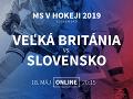 Veľká Británia - Slovensko: Online prenos z MS v hokeji 2019