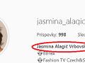 Jasmina Alagič si aj v biu na Instagrame uvádza nesprávny tvar mena.