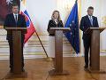 Traja najvyšší ústavní činitelia, prezidentka Zuzana Čaputová (uprostred), vľavo predseda Národnej rady (NR) SR Andrej Danko (SNS) a vpravo premiér SR Peter Pellegrini (Smer-SD)
