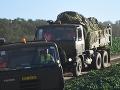 Na snímke prevoz častí havarovaného stíhacieho lietadla MiG-29 pri obci Nové Sady