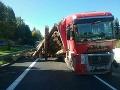 PRÁVE TERAZ havaroval kamión s drevom: FOTO Diaľnica smerom do Liptovského Mikuláša je neprejazdná