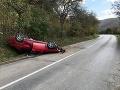 Vodič sa chcel vyhnúť srnke: Manéver na FOTO sa nepodaril, auto skončilo na streche