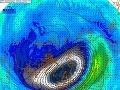 Cirkulácia, geopotenciál a teplota v stratosfére (hladina 10 hPa, teda okolo 30 km), 3.12.2019. Náhle oteplenie nad Áziou, čiastočne aj južnou Európou.