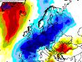 Pravdepodobnosť teplotnej anomálie v hladine 850 hPa (výška cca 1400 m n. m.), +4 °C alebo -4 °C, 3.12.2019, model ECMWF.