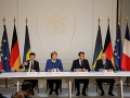 Zľava Volodymyr Zelenskyj, Angela Merkelová, Emmanuel Macron a Vladimir Putin