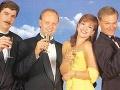 Vladimír Repčík, Pavol Rusko, Jarmila Lajčáková a Martin Nikodým takto oslavovali prvé výročie televízie Markíza.