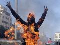 Hrozivá demonštrácia v Bejrúte.