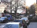 Silný nárazový vietor vyvrátil strom na autá pri Južnej triede v Košiciach