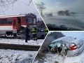 Nehody potrápili Slovensko: FOTO Zrážka s vlakom aj s autobusom, problémy robil aj sneh