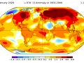 Obr. 2 Odchýlky od priemernej teploty v januári 2020 na Zemi podľa NASA.