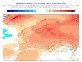 Obr. 3 Dlhodobá prognóza teploty na marec podľa európskeho predpovedného modelu (ECMWF).