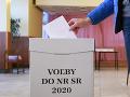 Volič vo volebnej miestnosti hlasuje za plentou v rámci volieb do Národnej rady SR 2020