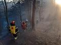 FOTO Viac ako 50 hasičov zasahuje pri požiari lesa: Terén je ťažko dostupný