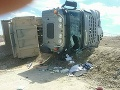 Hasiči zasahovali na stavbe bratislavského obchvatu: Nehoda nákladného auta, šofér utrpel zranenia