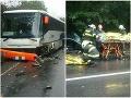 Hrozivo vyzerajúca nehoda na východnom Slovensku: FOTO Zrážka autobusu a auta si vyžiadala troch zranených