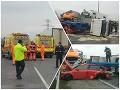 PRÁVE TERAZ Hromadná nehoda na D2! FOTO z miesta: Hasiči sú v pohotovosti, hlásia zranených
