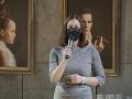 Ministerka kultúry Natália Milanová sa pred štartom inscenácie postavila na javisko.