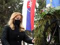 Prezidentka Zuzana Čaputová a minister obrany Jaroslav Naď pri pamätníku obetiam