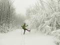 Aprílová snehová perina na bratislavskej Pezinskej Babe