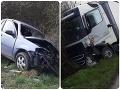 AKTUÁLNE Vážna nehoda pri Senici: Auto sa zrazilo s kamiónom, pre zraneného vodiča priletel vrtuľník