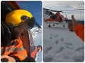 Autentické VIDEO leteckých záchranárov: Zranenú skialpinistku (52) ratoval vrtuľník