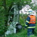 Po havárii skončilo auto zavesené na strome, vodiča napadli včely