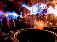 Demonštrujúci v centre ukrajinského hlavného mesta Kyjev