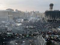 Pohľad na Námestie nezávislosti v Kyjeve