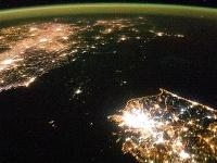 Pohľad na Kórejský polostrov z vesmíru