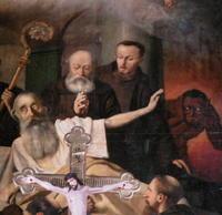 V Ivanke majú nad oltárom obraz, na ktorom je zobrazený satan (vpravo).