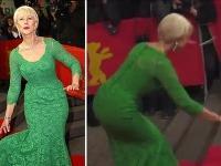 Helen Mirren mala v úzkych šatách problém s rovnováhou.