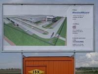 Transparent s vyobrazením budúceho závodu MinebeaMitsumi v priemyselnom parku Immopark v Košiciach.