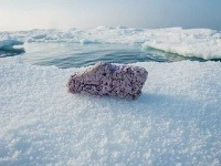 Polystyrén uprostred ľadovej pokrývky